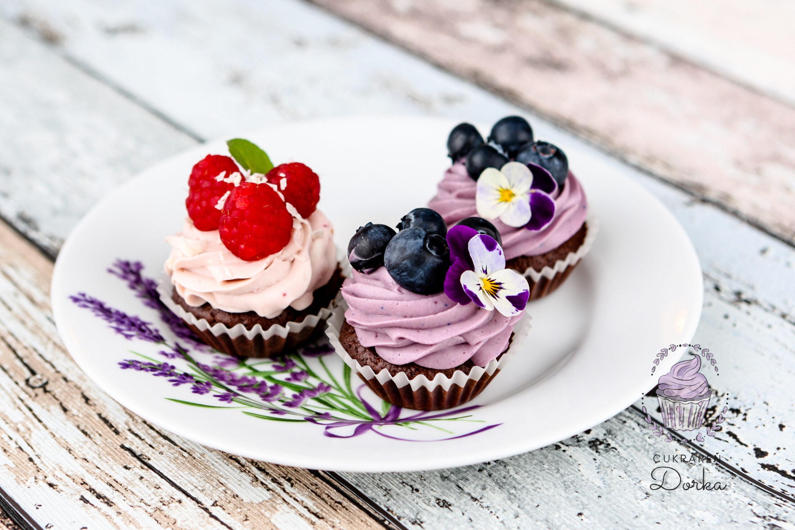 Cupcake malina a čučoriedka